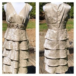 EUC Gold Tiered Party Dress